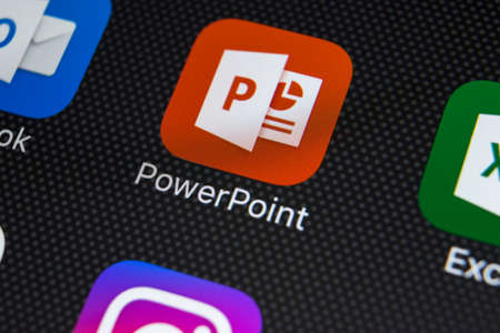 Sankt-Petersburg, Russia, February 22, 2018: Microsoft Powerpoint application icon on Apple iPhone X screen close-up. PowerPoint app icon. Microsoft Power Point application. Social media network