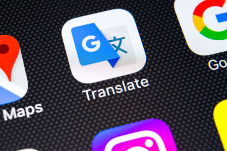 Sankt-Petersburg, Russia, February 21, 2018: Google Translate application icon on Apple iPhone X screen close-up. Google Translate icon. Google Translate application. Social media network