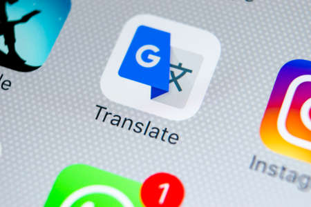Sankt-Petersburg, Russia, February 28, 2018: Google Translate application icon on Apple iPhone X screen close-up. Google Translate icon. Google Translate application. Social media network Editorial