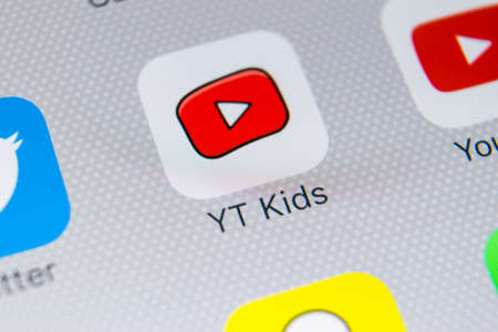 Sankt-Petersburg, Russia, February 21, 2018: YouTube Kids application icon on Apple iPhone X screen close-up. Youtube Kids app icon. YouTube kids application. Social media network Editorial