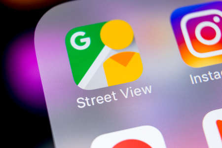 Sankt-Petersburg, Russia, March 7, 2018: Google Street View application icon on Apple iPhone X screen close-up. Google StreetView app icon. Google Street view application. Social media network