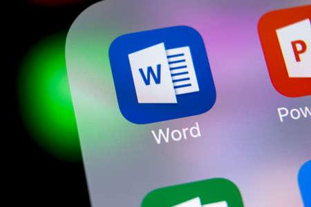 Sankt-Petersburg, Russia, Macrh 7, 2018: Microsoft word application icon on Apple iPhone X screen close-up. Microsoft office word icon. Microsoft office on mobile phone. Social media