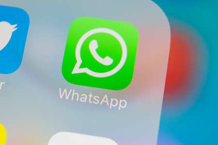 Sankt-Petersburg, Russia, March 13, 2018: Whatsapp messenger application icon on Apple iPhone X smartphone screen close-up. Whatsapp messenger app icon. Social media icon. Social network