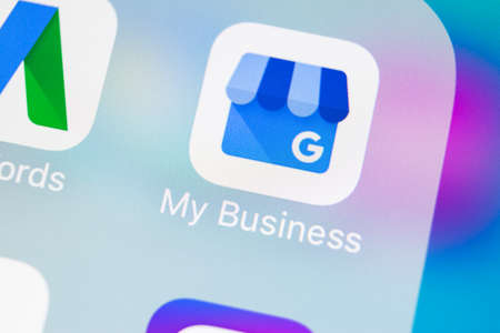 Sankt-Petersburg, Russia, March 14, 2018: Google My Business application icon on Apple iPhone X screen close-up. Google My Bysiness icon. Google My business application. Social media network