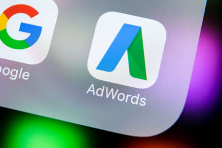 Sankt-Petersburg, Russia, March 21, 2018: Google AdWords application icon on Apple iPhone X screen close-up. Google Ad Words icon. Google Adwords application. Social media network Editorial