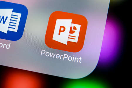Sankt-Petersburg, Russia, March 21, 2018: Microsoft office Powerpoint application icon on Apple iPhone X screen close-up. PowerPoint app icon. Microsoft Power Point application. Social media network