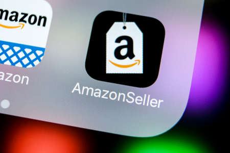Sankt-Petersburg, Russia, March 21, 2018: Amazon Seller application icon on Apple iPhone X screen close-up. AmazonSeller app icon. Amazon Seller application. Social media icon