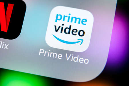 Sankt-Petersburg, Russia, March 22, 2018: Amazon Prime Video application icon on Apple iPhone X screen close-up. Amazon PrimeVideo app icon. Amazon Prime application. Social media network