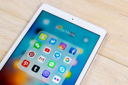 Sankt-Petersburg, Russia, April 1, 2018: Apple iPad with icons of social media facebook, instagram, twitter, snapchat application on screen. Social media icons. Social network. Social media Editorial