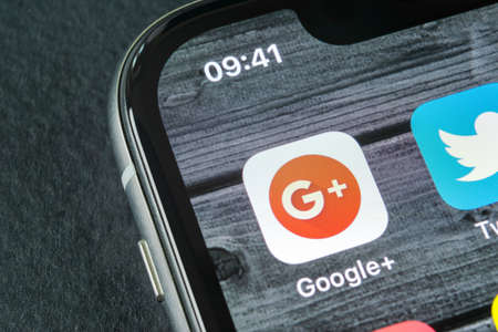 Sankt-Petersburg, Russia, April 11, 2018: Google plus application icon on Apple iPhone X smartphone screen close-up. Google plus app icon. Google+. Social media icon. Social network