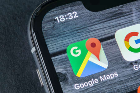 Sankt-Petersburg, Russia, April 12, 2018: Google Maps application icon on Apple iPhone X screen close-up. Google Maps icon. Google maps application. Social media network