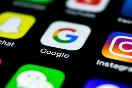 Sankt-Petersburg, Russia, April 12, 2018: Google application icon on Apple iPhone X smartphone screen close-up. Google app icon. Social network. Social media icon