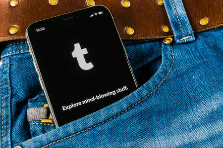 Sankt-Petersburg, Russia, April 14, 2018: Tumblr application icon on Apple iPhone X smartphone screen close-up in jeans pocket. Tumblr plus app icon. Tumblr is internet online social media network