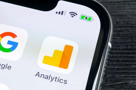 Sankt-Petersburg, Russia, April 27, 2018: Google Analytics application icon on Apple iPhone X screen close-up. Google Analytics icon. Google Analytics application. Social media network