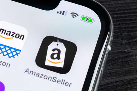 Sankt-Petersburg, Russia, April 27, 2018: Amazon Seller application icon on Apple iPhone X screen close-up. AmazonSeller app icon. Amazon Seller application. Social media icon
