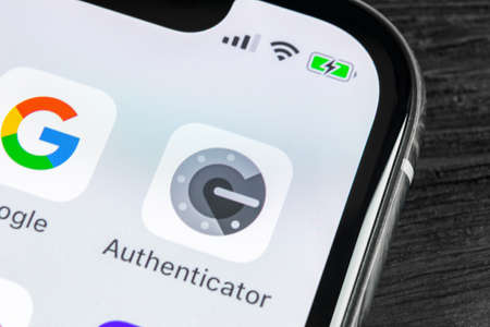 Sankt-Petersburg, Russia, April 27 2018: Google authenticator application icon on Apple iPhone X smartphone screen close-up. Google Authenticator app icon. Social network. Social media icon