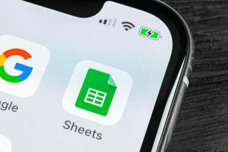 Sankt-Petersburg, Russia, April 27 2018: Google Sheets icon on Apple iPhone X smartphone screen close-up. Google sheets icon. Social network. Social media icon