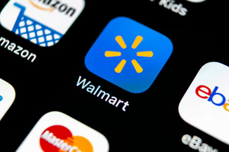 Sankt-Petersburg, Russia, May 10, 2018: Walmart application icon on Apple iPhone X screen close-up. Walmart app icon. Walmart.com is multinational retailing corporation