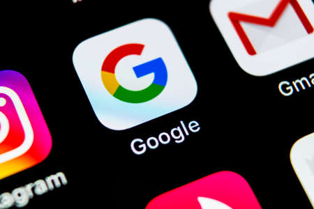 Sankt-Petersburg, Russia, May 10, 2018: Google search application icon on Apple iPhone X smartphone screen close-up. Google app icon. Social network. Social media icon Editorial