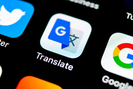 Sankt-Petersburg, Russia, May 10, 2018: Google Translate application icon on Apple iPhone X screen close-up. Google Translate icon. Google Translate application. Social media network Editorial