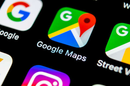 Sankt-Petersburg, Russia, May10, 2018: Google Maps application icon on Apple iPhone X screen close-up. Google Maps icon. Google maps application. Social media network