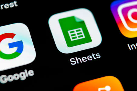 Sankt-Petersburg, Russia, May 10, 2018: Google Sheets icon on Apple iPhone X smartphone screen close-up. Google sheets icon. Social network. Social media icon Editorial