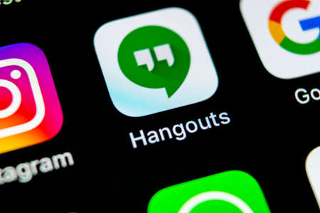 Sankt-Petersburg, Russia, May 10, 2018: Google Hangouts application icon on Apple iPhone X smartphone screen close-up. Google hangouts app icon. Social network. Social media icon