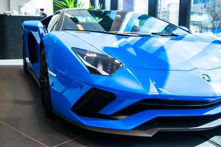 Tallinn, Estonia, April 23 2018: Front view of a new Lamborghini Aventador S coupe. Headlight. Car detailing. Car exterior details