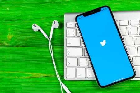 Sankt-Petersburg, Russia, June 2, 2018: Twitter application icon on Apple iPhone X smartphone screen close-up. Twitter app icon. Social media icon. Social network Redakční