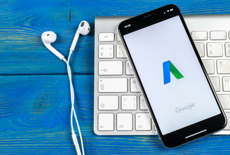 Sankt-Petersburg, Russia, June 2, 2018: Google AdWords application icon on Apple iPhone X screen close-up. Google Ad Words icon. Google Adwords application. Social media network 報道画像