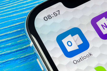 Sankt-Petersburg, Russia, June 20, 2018: Microsoft Outlook office application icon on Apple iPhone X screen close-up. Microsoft outlook app icon. Microsoft OutLook application. Social media network
