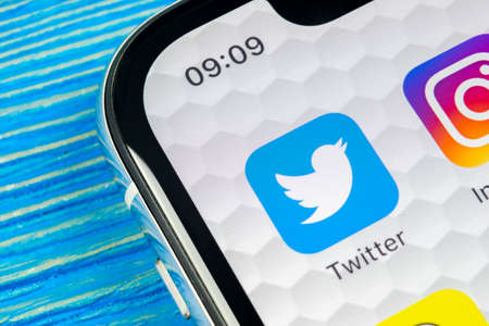 Sankt-Petersburg, Russia, June 10, 2018: Twitter application icon on Apple iPhone X smartphone screen close-up. Twitter app icon. Social media icon. Social network