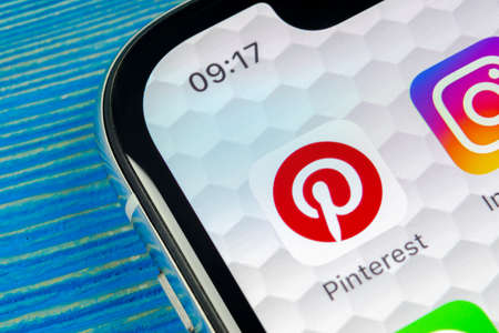 Sankt-Petersburg, Russia, June 20 2018: Pinterest application icon on Apple iPhone X smartphone screen. Pinterest app icon. Pinterest is the  popular Internet social network. Social media icon Editorial