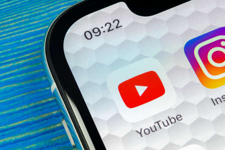 Sankt-Petersburg, Russia, June 20, 2018: YouTube application icon on Apple iPhone X smartphone screen close-up. Youtube app icon. Social media icon. Social network Editorial
