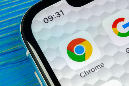 Sankt-Petersburg, Russia, June 20, 2018: Google Chrome application icon on Apple iPhone X screen close-up. Google Chrome app icon. Google Chrome application. Social media network