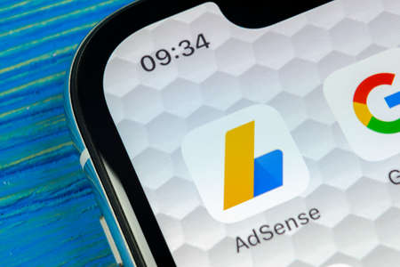 Sankt-Petersburg, Russia, June 20, 2018: Google AdSense application icon on Apple iPhone X screen close-up. Google AdSense app icon. Google AdSense application. Social media network
