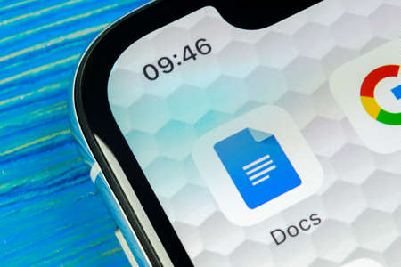 Sankt-Petersburg, Russia, June 20, 2018: Google Docs icon on Apple iPhone X smartphone screen close-up. Google docs icon. Social network. Social media icon