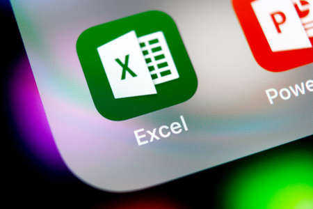 Sankt-Petersburg, Russia, August 10, 2018: Microsoft Exel application icon on Apple iPhone X screen close-up. Microsoft office Exel app icon. Microsoft office on mobile phone. Social media