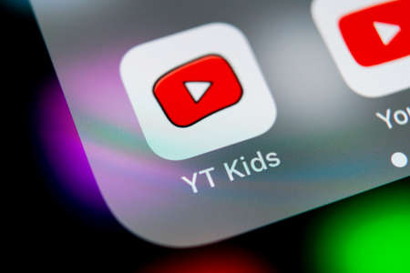 Sankt-Petersburg, Russia, August 16, 2018: YouTube kids application icon on Apple iPhone X smartphone screen close-up. Youtube kids app icon. Social media icon. Social network