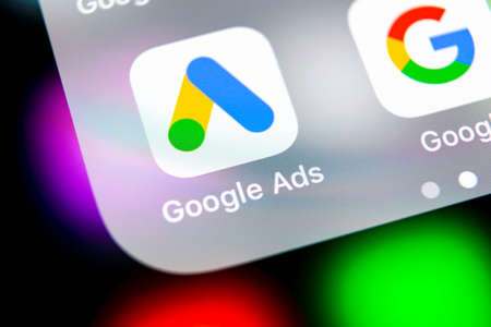 Sankt-Petersburg, Russia, August 16, 2018: Google Ads AdWords application icon on Apple iPhone X screen close-up. Google Ad Words icon. Google ads Adwords application. Social media network Stock Photo - 108015922