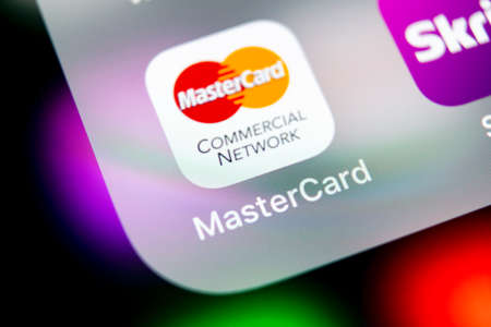 Sankt-Petersburg, Russia, August 16, 2018: MasterCard application icon on Apple iPhone X screen close-up. Master Card icon. MasterCard online application. Social media app