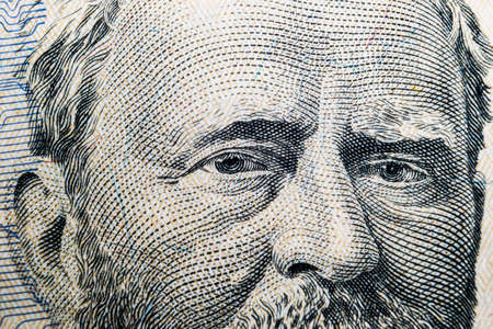 Close up view Portrait of Ulysses S. Grant on the one fifty dollar bill. Background of the money. 50 dollar bill with Ulysses S. Grant eyes macro shot. Money background. Face portrait Editorial