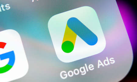 Sankt-Petersburg, Russia, August 31, 2018: Google Ads AdWords application icon on Apple iPhone X screen close-up. Google Ad Words icon. Google ads Adwords application. Social media network Stock Photo - 108016461