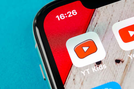 Sankt-Petersburg, Russia, September 19, 2018: YouTube kids application icon on Apple iPhone X smartphone screen close-up. Youtube kids app icon. Social media icon. Social network