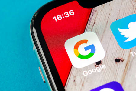 Sankt-Petersburg, Russia, September 19, 2018: Google search application icon on Apple iPhone X smartphone screen close-up. Google app icon. Social network. Social media icon