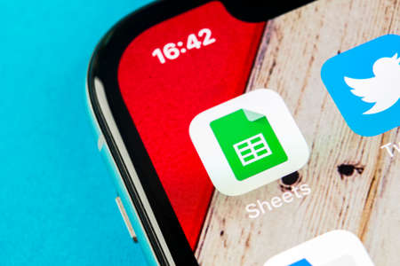 Sankt-Petersburg, Russia, September 19, 2018: Google Sheets icon on Apple iPhone X smartphone screen close-up. Google sheets icon. Social network. Social media icon