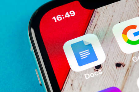 Sankt-Petersburg, Russia, September 19, 2018: Google Docs icon on Apple iPhone X smartphone screen close-up. Google docs icon. Social network. Social media icon