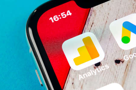 Sankt-Petersburg, Russia, September 19, 2018: Google Analytics application icon on Apple iPhone X screen close-up. Google Analytics icon. Google Analytics application. Social media network