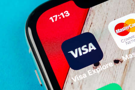 Sankt-Petersburg, Russia, September 19, 2018: Visa application icon on Apple iPhone X screen close-up. Visa app icon. Visa online application. Social media app Editorial