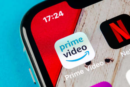 Sankt-Petersburg, Russia, September 10, 2018: Amazon Prime Video application icon on Apple iPhone X screen close-up. Amazon PrimeVideo app icon. Amazon Prime application. Social media network